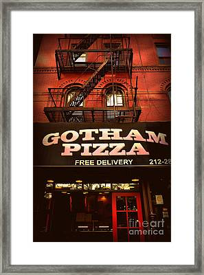 Gotham Pizza Framed Print