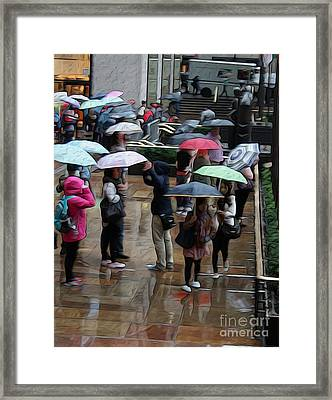 Gotham Umbrelled Framed Print by David Bearden