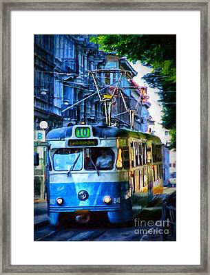 Gothenburg Tram Painting Framed Print by Antony McAulay