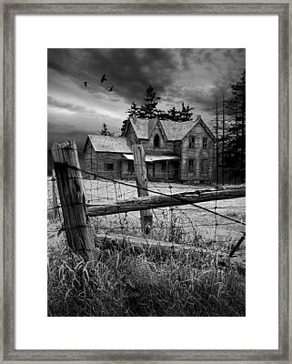 Gothic Abandoned Farm House In Ontario Canada Framed Print by Randall Nyhof