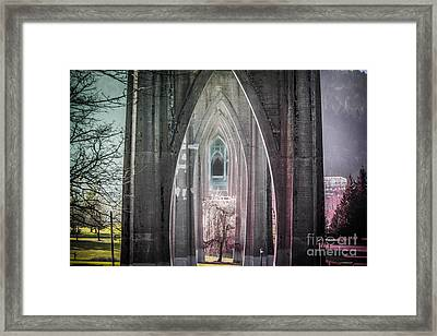Gothic Arches Hands Folded In Prayer Framed Print by Patricia Babbitt