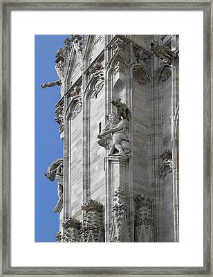 Gothic Cathedral Lion Statue And Gargoyles Framed Print by Leone M Jennarelli