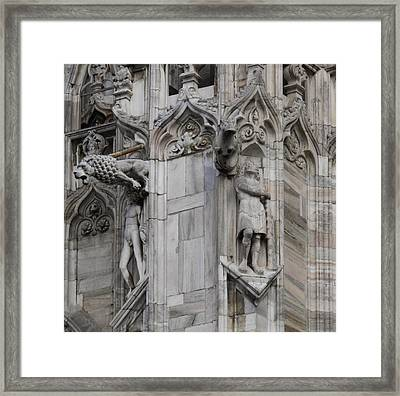Milan Gothic Cathedral Statues And Lion Gargoyle Framed Print by Leone M Jennarelli
