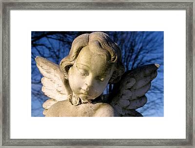Gothic Cherub Statue Framed Print by Glenn McGloughlin