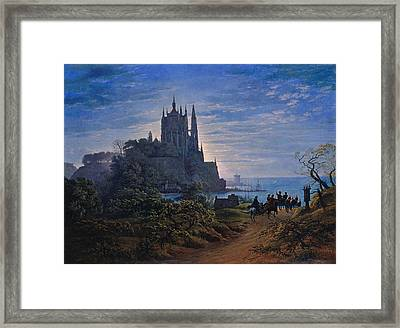 Gothic Church On A Rock By The Sea Framed Print