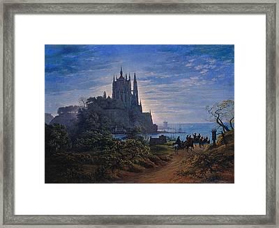 Gothic Church On A Rock By The Sea Framed Print by Karl Friedrich Schinkel