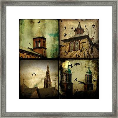 Gothic Churches And Crows Framed Print