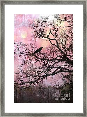 Gothic Fantasy Surreal Nature - Haunting Pink Trees Limbs With Haunting Spooky Raven Framed Print