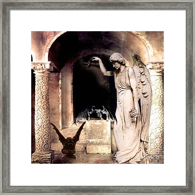 Gothic Gargoyles Angels Fantasy Dark Spooky Halloween Art  Framed Print by Kathy Fornal