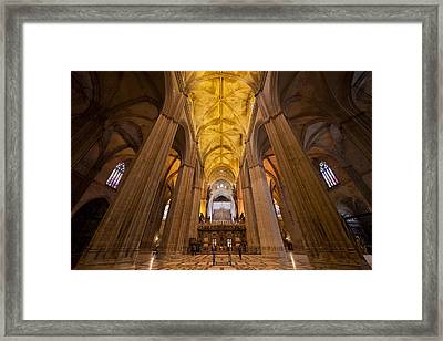 Gothic Interior Of The Seville Cathedral Framed Print by Artur Bogacki