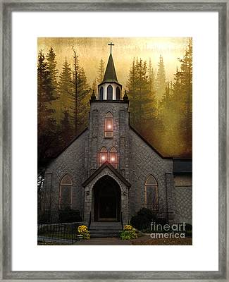 Gothic Old Church Autumn Forest Woodlands Framed Print by Kathy Fornal