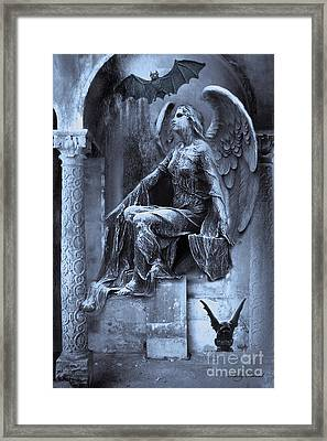 Gothic Surreal Cemetery Angel With Gargoyle And Bats Framed Print by Kathy Fornal
