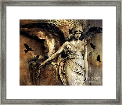 Gothic Surreal Dark Angel Art With Black Ravens Crows Gothic Gold Black Impressionistic Photography Framed Print by Kathy Fornal