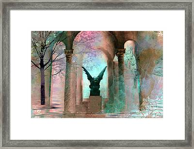Gothic Surreal Fantasy Haunting Gargoyle Green Teal Nature Woodlands Forest Trees Framed Print