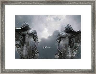 Gothic Surreal Female Figures Haunting Inspirational Spiritual Art - Believe Framed Print by Kathy Fornal