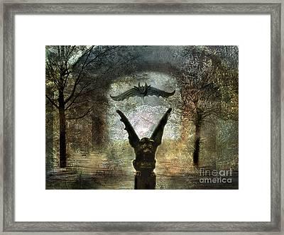 Gothic Surreal Fantasy Spooky Gargoyles  Framed Print by Kathy Fornal