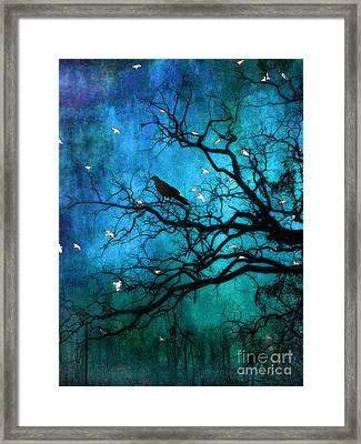Gothic Surreal Nature Ravens Crow And Birds Framed Print by Kathy Fornal