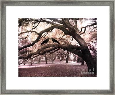 Gothic Surreal Oak Trees And Ravens South Carolina Framed Print by Kathy Fornal