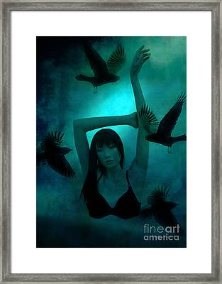 Gothic Surreal Ravens With Asian Girl  Framed Print by Kathy Fornal
