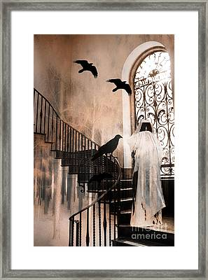 Gothic Grim Reaper With Ravens Crows - Spooky Haunting Surreal Gothic Art Framed Print by Kathy Fornal