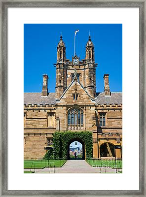 Gothic Tower And Entrance Of Sydney University Framed Print