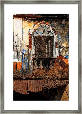Old Gothic Window And Roof Of Portuguese House. Goa. India Framed Print by Jenny Rainbow