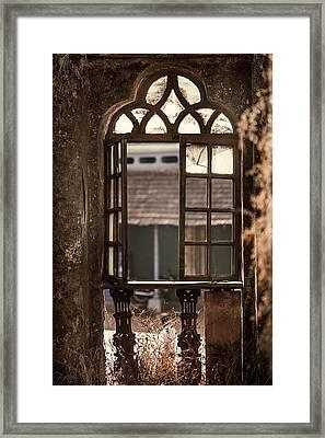 Gothic Window. Old Portuguese House. Goa. India Framed Print by Jenny Rainbow