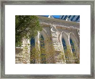 Gothic Windows - Austin Texas Church Framed Print by Connie Fox