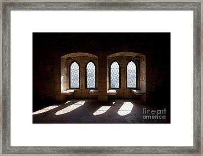 Gothic Windows Of The Royal Residence In The Leiria Castle Framed Print by Jose Elias - Sofia Pereira