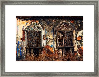 Gothic Windows. Old Portuguese House. Goa. India Framed Print by Jenny Rainbow