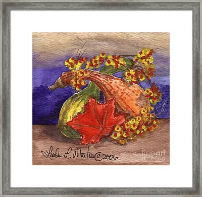 Gourds Still Life Framed Print by Linda L Martin