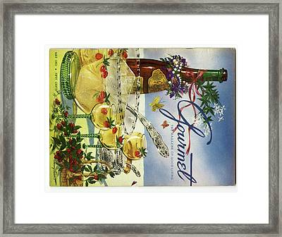 Gourmet Cover Featuring A Bowl And Glasses Framed Print by Henry Stahlhut