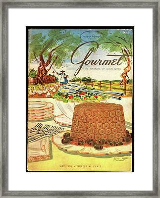 Gourmet Cover Featuring A Buffet Farm Scene Framed Print by Henry Stahlhut