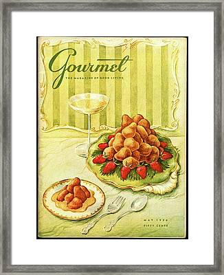 Gourmet Cover Featuring A Plate Of Beignets Framed Print by Hilary Knight