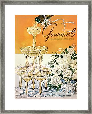 Gourmet Cover Featuring A Pyramid Of Champagne Framed Print by Henry Stahlhut