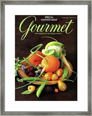Gourmet Cover Featuring A Variety Of Fruit Framed Print by Romulo Yanes