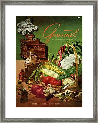 Gourmet Cover Featuring A Variety Of Vegetables Framed Print by Henry Stahlhut