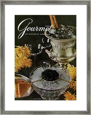 Gourmet Cover Featuring A Wine Cooler Framed Print by Arthur Palmer