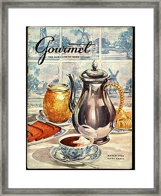 Gourmet Cover Featuring An Illustration Framed Print