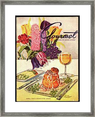 Gourmet Cover Featuring Sweetbread And Asparagus Framed Print