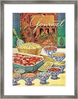 Gourmet Cover Featuring Various Indian Dishes Framed Print by Henry Stahlhut