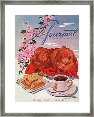 Gourmet Cover Illustration Of A Basket Of Popovers Framed Print by Henry Stahlhut