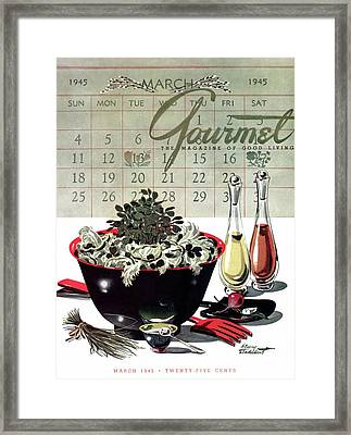Gourmet Cover Illustration Of A Bowl Of Salad Framed Print by Henry Stahlhut