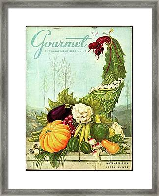 Gourmet Cover Illustration Of A Cornucopia Framed Print by Hilary Knight