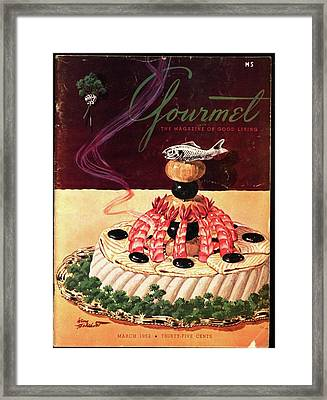 Gourmet Cover Illustration Of A Filet Of Sole Framed Print by Henry Stahlhut