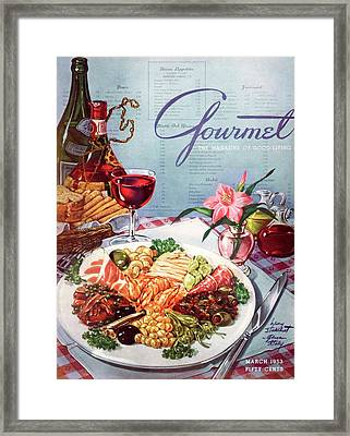 Gourmet Cover Illustration Of A Plate Of Antipasto Framed Print by Henry Stahlhut