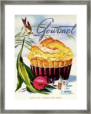 Gourmet Cover Illustration Of A Souffle And Tulip Framed Print by Henry Stahlhut
