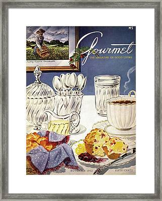 Gourmet Cover Illustration Of Cranberry Muffins Framed Print by Henry Stahlhut