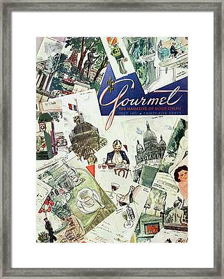 Gourmet Cover Illustration Of Drawings Portraying Framed Print