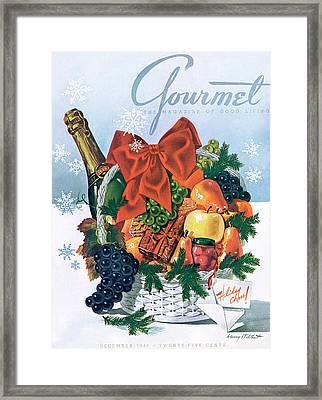 Gourmet Cover Illustration Of Holiday Fruit Basket Framed Print